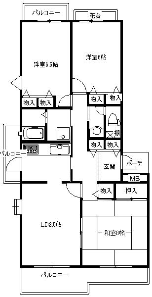 パークヒルズくすのき中央404号室 図面