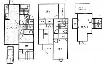 京都市西京区粟田町貸家 図面